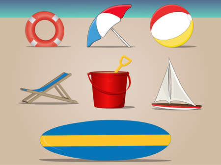 Beach Day icon set Vector