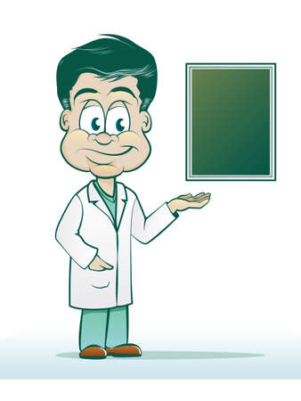 Doctor Cartoon with X-ray or Chart