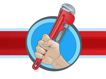 plomeria: Plomero mano que agarra una llave de tubo