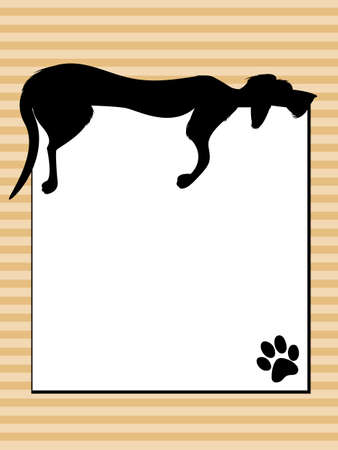 Lazy Dog Sleeping over Sign Vector
