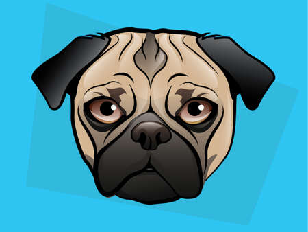 Pug Dog Face on a Blue Background Vector