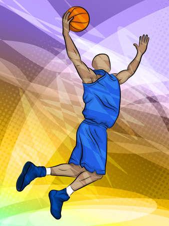 Basketbal-speler springen  Basketbal rebound  Abstract sport