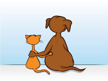 cat dog: Dog and Cat Sitting with Arms Around Each Other Illustration
