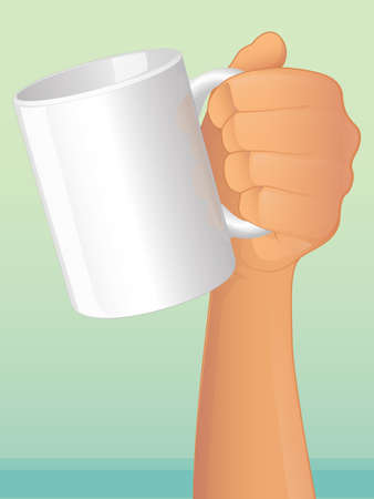 Hand holding a coffee mug Vector