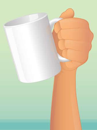 hot plate: Mano que sostiene una taza de caf�