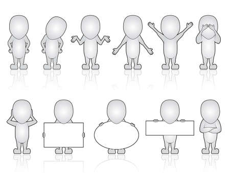 Series of Generic Human Characters in various poses Vector