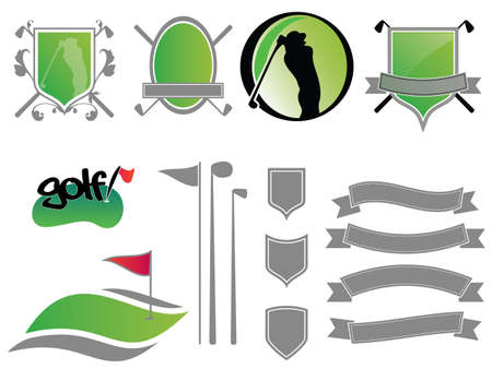 golf ball on tee: Collection of golf labels, badges and icons