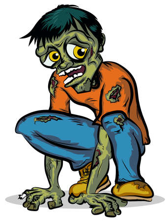 Crouching Zombie Character Vector