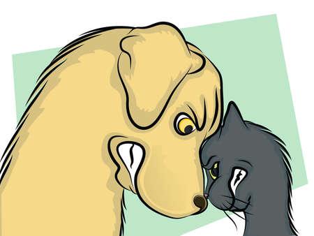 fighting dog: Cane e gatto naso a naso Vettoriali