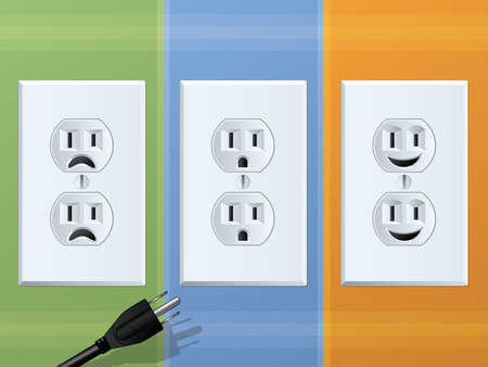 electrical safety: Power OutletHappy and Sad Receptacles Illustration