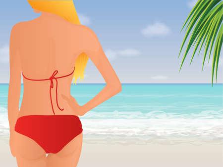 sunbathing: Female back at the beach Illustration