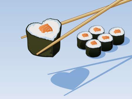 Sushi Liefde Stock Illustratie