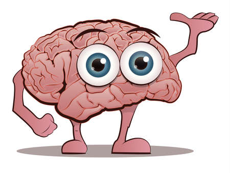 brain illustration: Brain Character with Hands and Feet Illustration