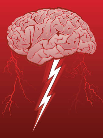 Brain Storm/Human Brain with Lighting Bolt Vectores