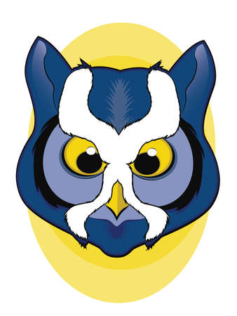 Blue Owl Face Illustration Vector