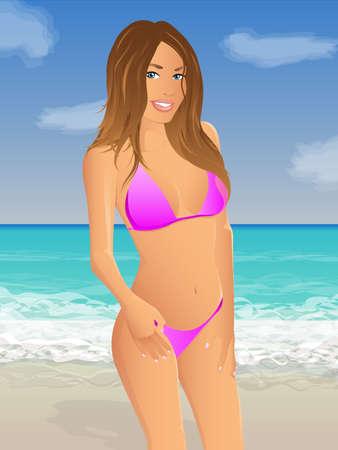 sexy girl posing: Pink Beach Bikini
