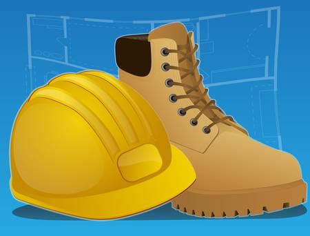 industrial safety: Botas de construcci�n y sombrero duro