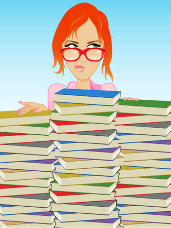 redhead woman: Girl Wearing Glasses Behind a Stack of Books