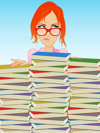 redhead woman: Ragazza Indossa occhiali dietro una pila di libri