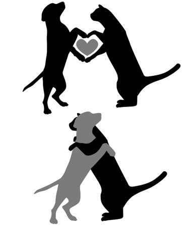 silueta de gato: Amor del gato del perro