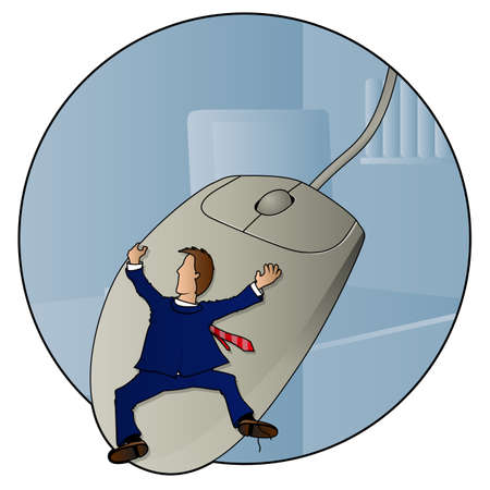 Man hanging onto a mouse while wearing a suit Stock Vector - 14840567
