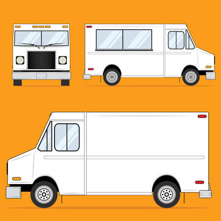cartoon truck: Food Truck en blanco