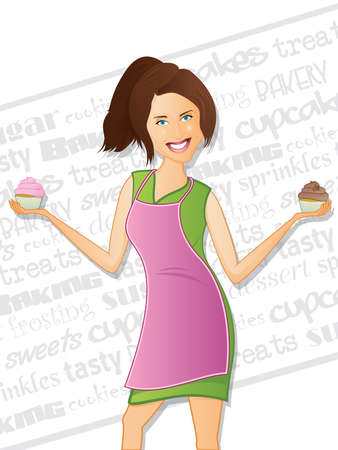 Cupcake Girl with Background Text Illustration