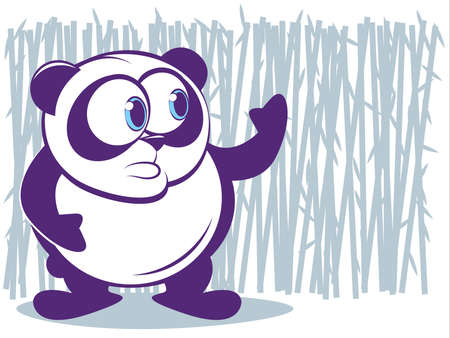 Cute Panda with Bamboo Background Vector