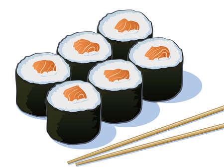 salmon ahumado: Rolls de color salmón Sushi con palillos Vectores
