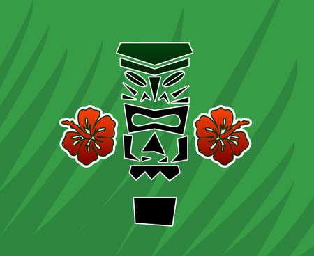 luau party: Dios Tiki con el hibisco