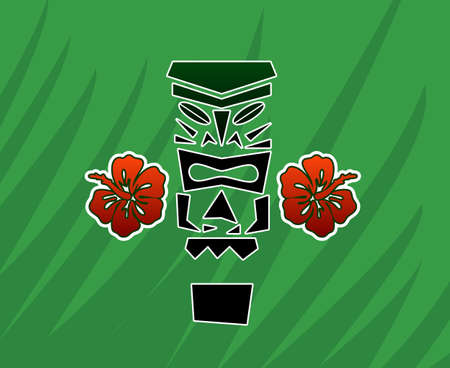 tiki party: Tiki god with hibiscus
