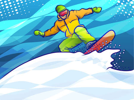 Snowboarder Jump Stock Illustratie