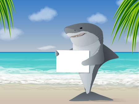 tiburon caricatura: Tibur�n con un cartel en la playa