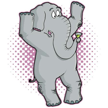 Elephant Cartoon Character Holding a Martini Vector