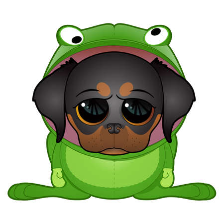 cartoon dog: Dog in  Frog Costume Illustration