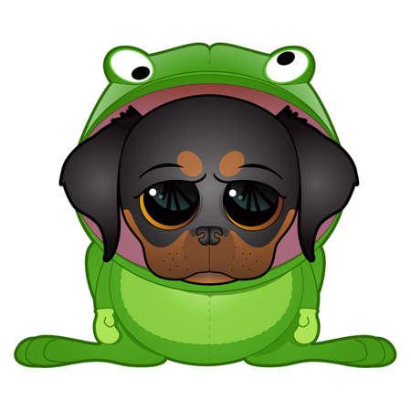 Dog in  Frog Costume Illustration