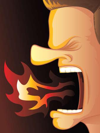 뜨거운 불이 그의 입 불타는 고함 남자