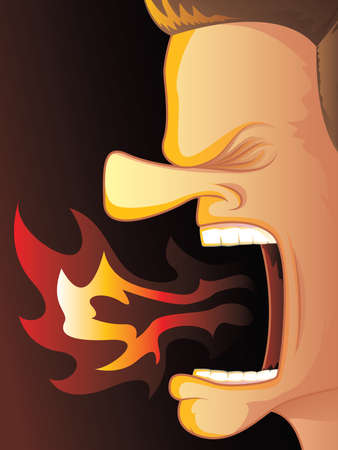 yell: Man Yelling with Hot Fire Burning His Mouth Illustration