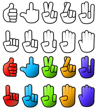 Various Hand Sign Gesture Icons Vector