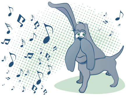 Hound Dog Listening to Music Stock Vector - 15090909