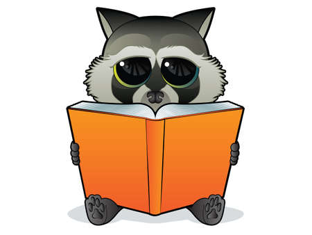 Book Reading Racoon Vettoriali