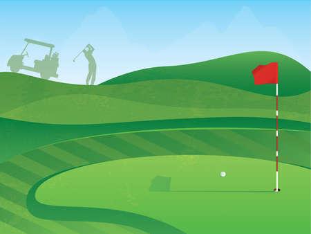 골프 코스 레드 플래그와 레이아웃 및 그린에 공 일러스트