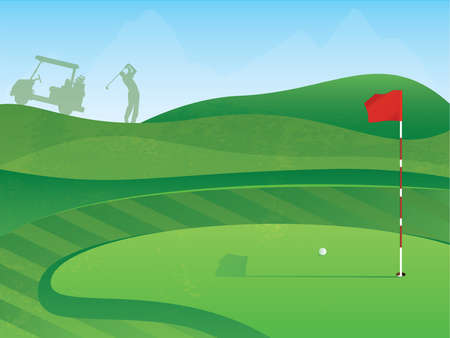 Golf Course Layout with Red Flag and Ball on the Green Vector