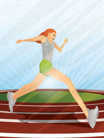 Runner Girl on Track Vector