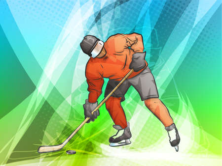 hockey goal: Hockey Player Shooting on Goal Illustration