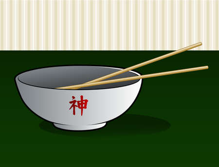 fried noodles: Asian Noodle Bowl Illustration
