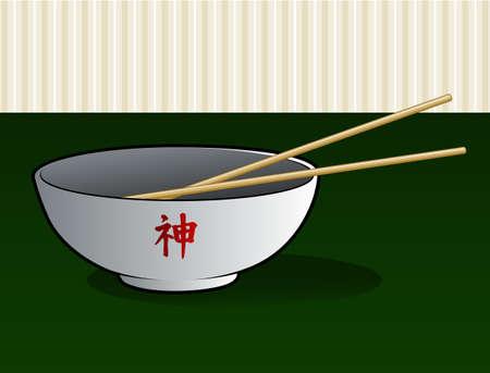 Asian Noodle Bowl Illustration