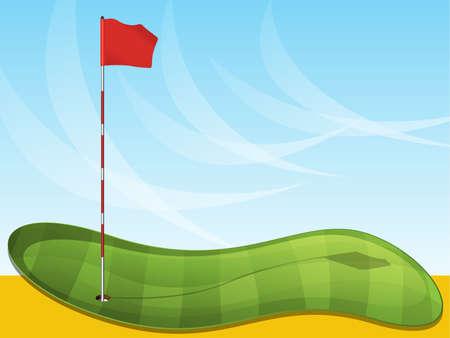 golf stick: Golf fondo de la bandera