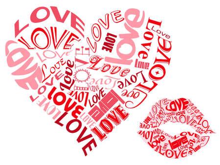 사랑 텍스트 / 마음과 키스 스톡 콘텐츠 - 15166021