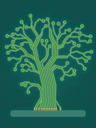 Green Circuit Board Tree